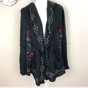 Anthropologie Caite embroidered open cardigan